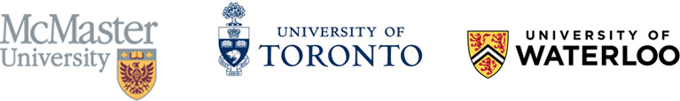 McMaster Univerity Logo, University of Toronto Logo, University of Waterloo Logo